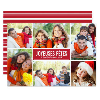 Photo Collage de Noël Carte de Voeux | en Rouge Card