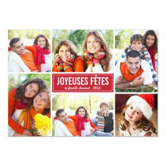 Photo Collage de Noël Carte de Voeux | en Rouge Carton D'invitation 12,7 Cm X 17,78 Cm