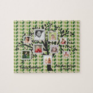 Photo Collage Family Tree Template Personalized 2 Jigsaw Puzzle