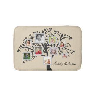 Photo Collage Family Tree Template Personalized Bath Mat