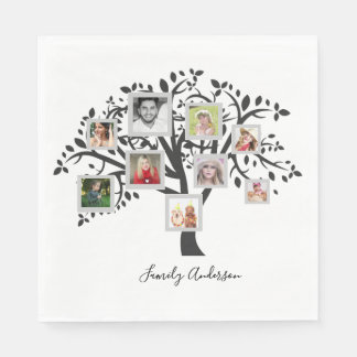 Photo Collage Family Tree Template Personalized Disposable Napkins