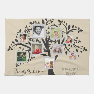 Photo Collage Family Tree Template Personalized Kitchen Towel