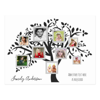 Photo Collage Family Tree Template Personalized Postcard