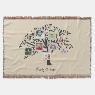 Photo Collage Family Tree Template Personalized Throw Blanket