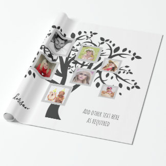 Photo Collage Family Tree Template Personalized Wrapping Paper