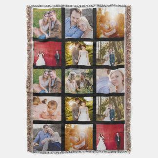Photo Collage Gift 15 photo blanket | Black frames Throw Blanket