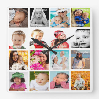 Photo Collage Make Your Own DIY Square Wall Clock