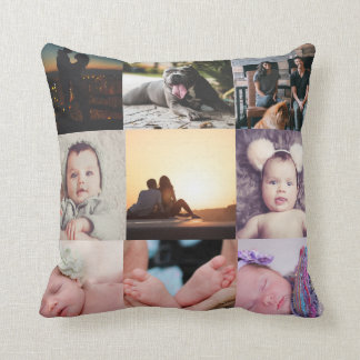Photo Collage Make Your Own Personalized 9 Photo Throw Pillow