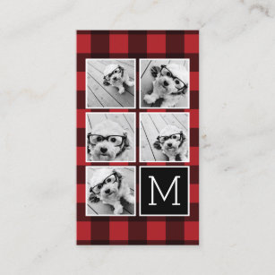 Photo collage business cards business card printing zazzle ca photo collage monogram red black buffalo plaid business card colourmoves
