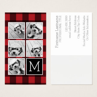 Photo Collage - Monogram Red Black Buffalo Plaid Business Card