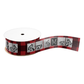 Photo Collage - Monogram Red Black Buffalo Plaid Grosgrain Ribbon