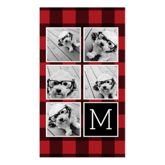 Photo Collage - Monogram Red Black Buffalo Plaid Pack Of Standard Business Cards