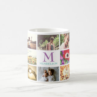 Photo collage name initial monogram coffee mug