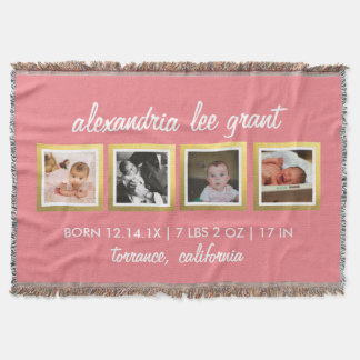 Photo Collage New Parents Gift Baby Pink Throw Blanket
