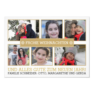 Photo collage of six photos FROHE WEIHNACHTEN Card