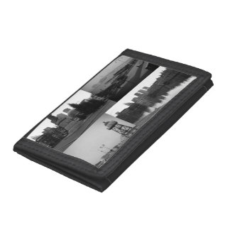 Photo collage of The Hague 3 in black and white Trifold Wallet