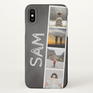 Photo Collage of Travel Memories Black Chalkboard iPhone X Case