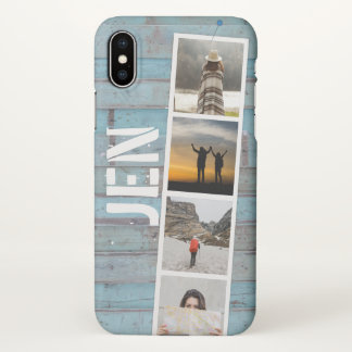 Photo Collage of Travel Memories. Blue Beach Wood. iPhone X Case