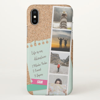 Photo Collage of Travel Memories Corkboard iPhone X Case