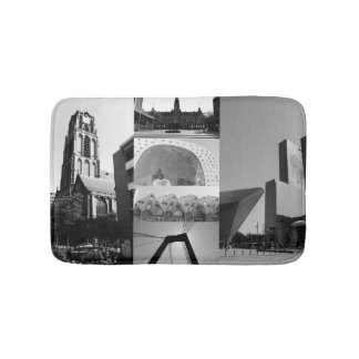 Photo collage Rotterdam 1 in black and white Bathroom Mat