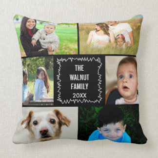Photo Collage Rough Edge Any Color Background Throw Pillow