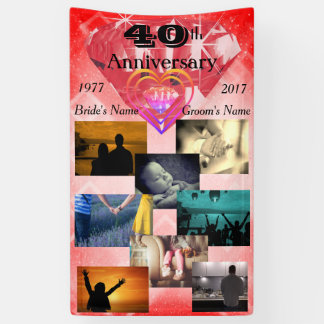 Photo Collage Ruby 40th Wedding Anniversary Banner