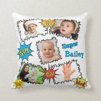 Photo Collage Speech Bubble Comic Bam Wunk Zot Throw Pillow