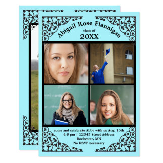 Photo Collage Teal  Lace - 3x5 Grad Announcement