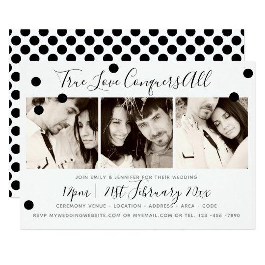 PHOTO COLLAGE Wedding Invitation Black White dots