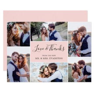 Photo Collage Wedding Thank You Flat Card | Blush