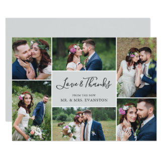 Photo Collage Wedding Thank You Flat Card | Gray
