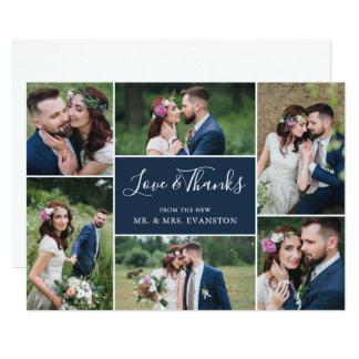 Photo Collage Wedding Thank You Flat Card | Navy