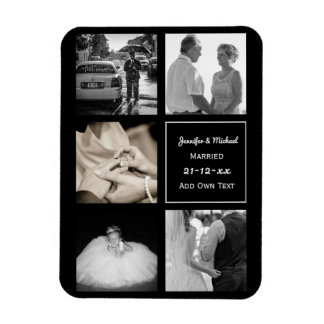 PHOTO COLLAGE Wedding Vow Renewal Anniversary BLK Magnet