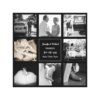 PHOTO COLLAGE Wedding Vow Renewal Anniversary Chic Canvas Print