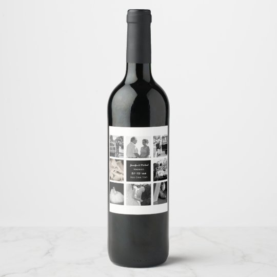 Photo Collage Wedding Vow Renewal Anniversary Chic Wine Label