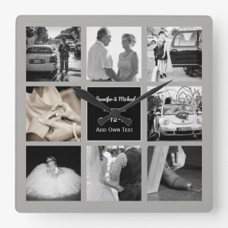 PHOTO COLLAGE Wedding Vow Renewal Anniversary Grey Square Wall Clock