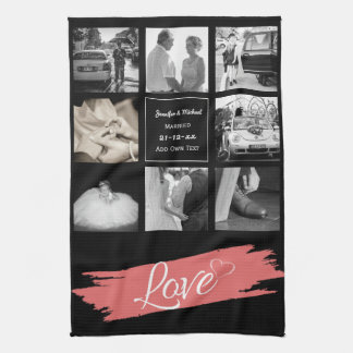 PHOTO COLLAGE Wedding Vow Renewal Anniversary Love Kitchen Towel