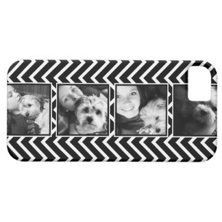 Photo Collage with Black and White Chevron Pattern Case For The iPhone 5