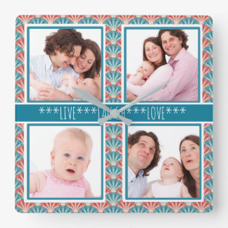 Photo Collage with Decorative Fan Pattern Square Wall Clock