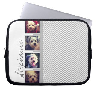 Photo Collage with Gray White Chevron Pattern Laptop Sleeve