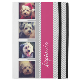 Photo Collage with Gray White Pink Chevron Pattern