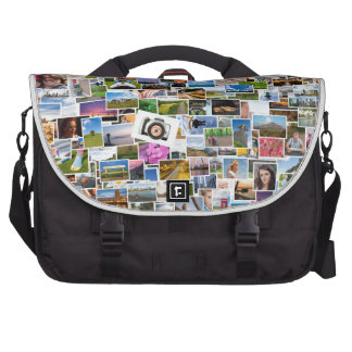 Photo collage with many pictures laptop shoulder bag