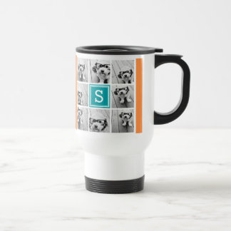 Photo Collage with Monogram - Orange and Teal 15 Oz Stainless Steel Travel Mug