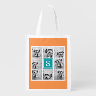Photo Collage with Monogram - Orange and Teal Reusable Grocery Bag