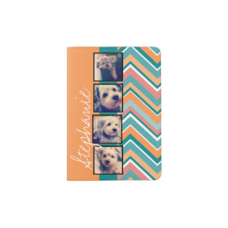 Photo Collage with Orange and Teal Chevrons Passport Holder