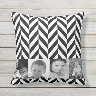 Photo Collage Zigzag Chevron Personalized Throw Pillow