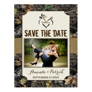 Photo Country Rustic Deer Camo Save The Date Cards Postcard