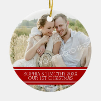 Photo Couples First Christmas Ornament Red