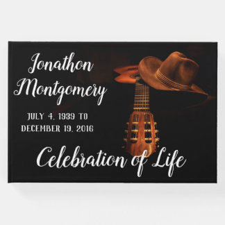 Photo, Cowboy Hat and Guitar Celebration of Life Guest Book
