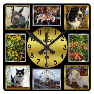 Photo Custom 8 Picture Personalized Black Gold Clock